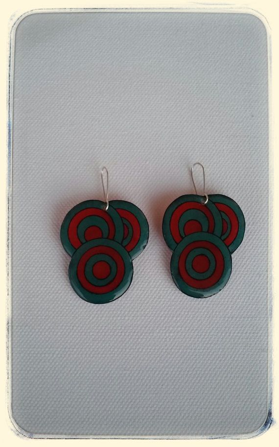 Red and blue petrol circle earrings geometric by DionaCrafts