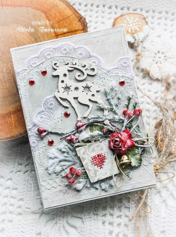 Скрапбукинг открытка новый год рождество, днем матери