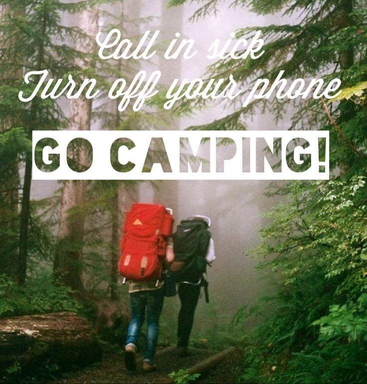 Love the outdoors? How about this idea! Calling in sick, turning off your phone and going camping! We're in... road trip anyone?
