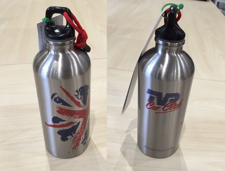 Stainless steel water bottles designed and printed for the TVR Car Club