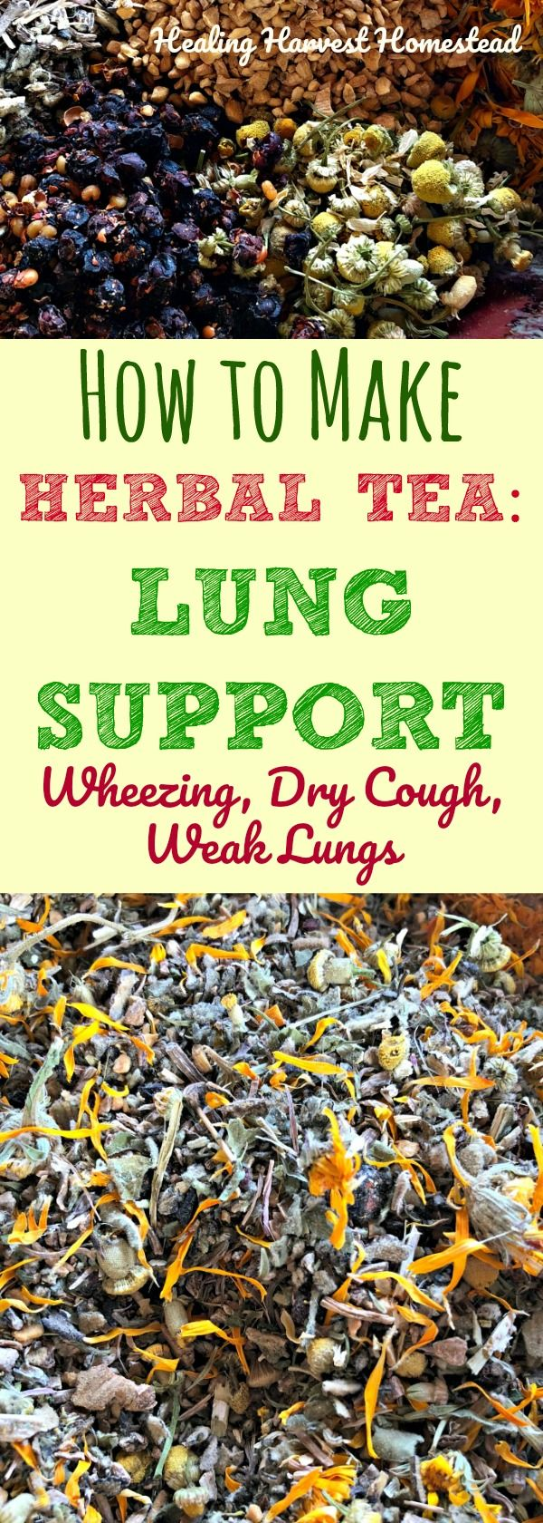 Here is a recipe for an herbal tea to support your lungs. If you have asthma symptoms with slight wheezing and dry cough or just weak lungs due to illness, including that cough that just won't leave....this tea is great for use as a daily tonic tea for chronic issues or even with acute problems. Enjoy this herbal lung support tea blend recipe!