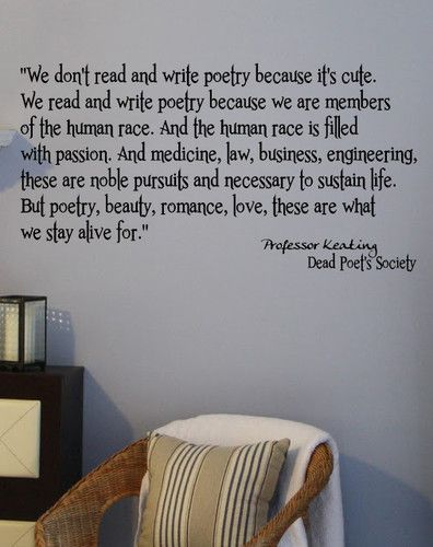 POETRY DEAD POET'S SOCIETY QUOTES VINYL DECAL WALL MOVIE