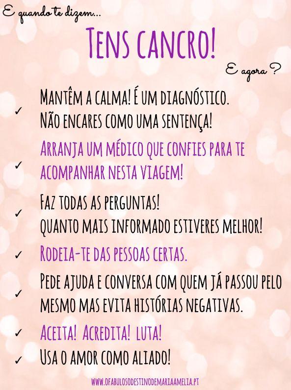 E quando te dizem: TENS CANCRO! E agora? #Cancro Aqui: www.ofabulosodestinodemariaamelia.pt/tens-cancro/