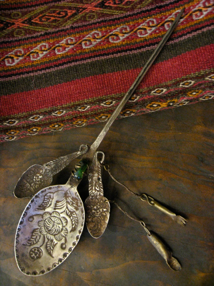 Peruvian Spoon Shawl Pin with Milagros Charms and Green Glass Bead - vintage hand-hammered silver brooch from 1920s via EyesVintage
