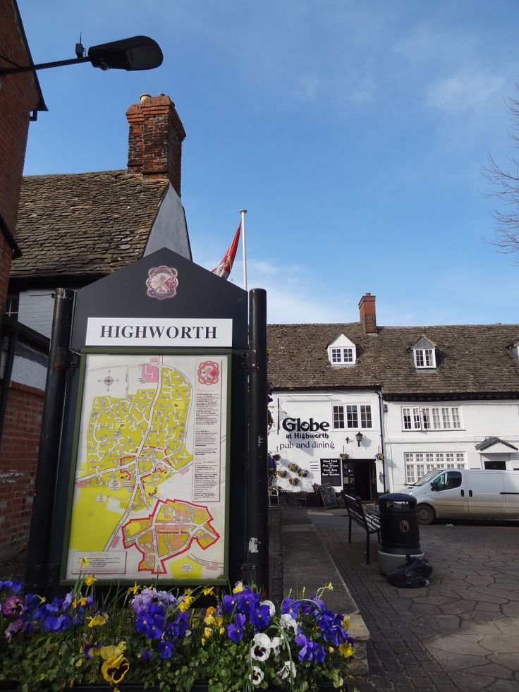 Highworth town map with Globe pub in the background in 2014.