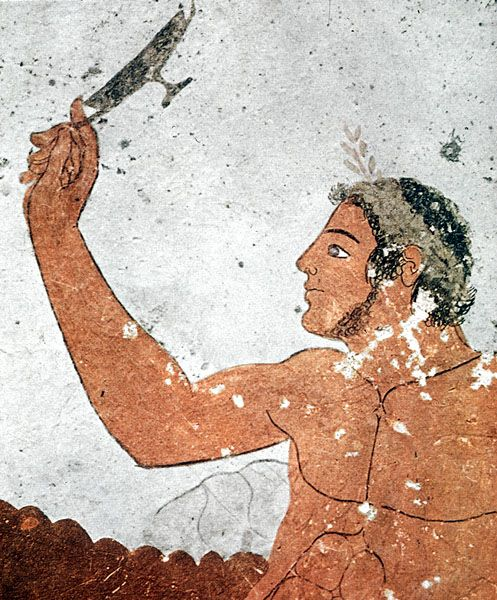 Tomb of the Diver, Paestum, North wall: kottabos player.  about 470 BC.