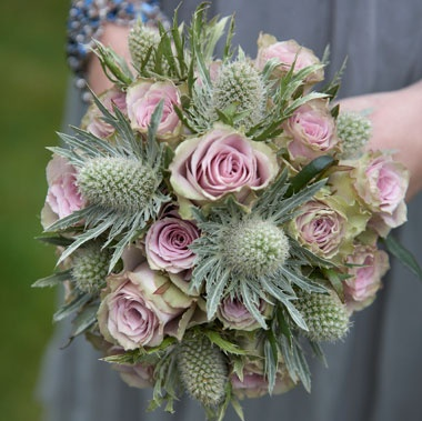 Bridesmaid Bouquet of Old Dutch Roses and Green Thistle