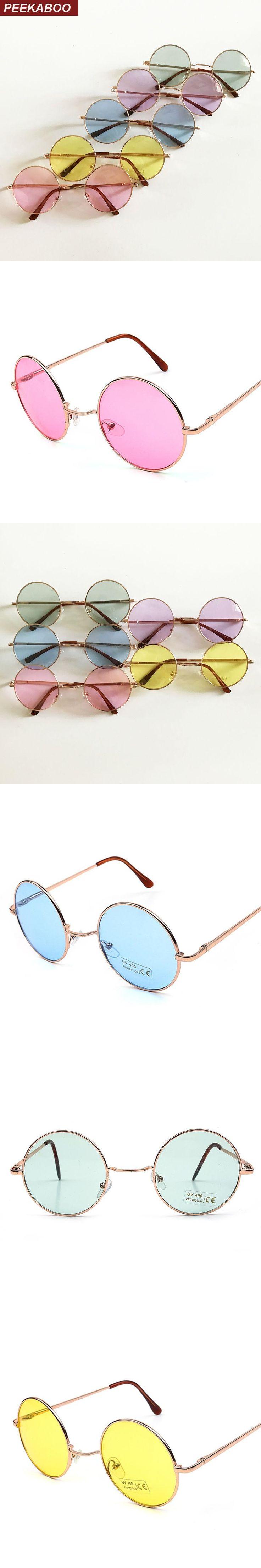 Peekaboo vintage round sunglasses women male cheap sun glasses round men yellow blue green uv400 metal