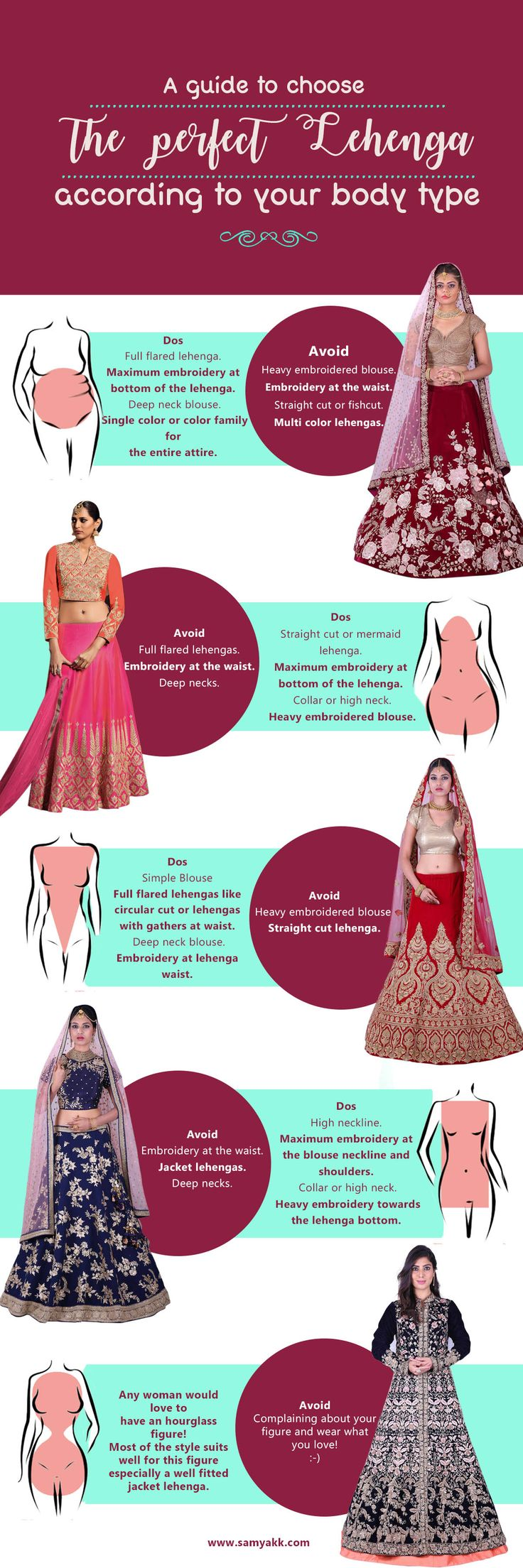 #Samyakk presents you the detailed guide to choose a perfect #wedding #lehenga according to your #body type. Buy lehengas #online at www.samyakk.com