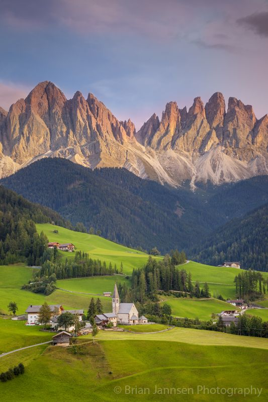 Dolomites from Val di Funes, Trentino Alto Adige, Italy. © Brian Jannsen Photography