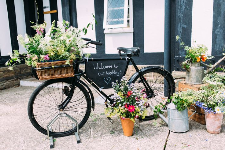 Vintage Bicycle Wedding Decor | Pastel Woodland Village Hall Wedding | Andy Li Photography | http://www.rockmywedding.co.uk/rachel-adam/