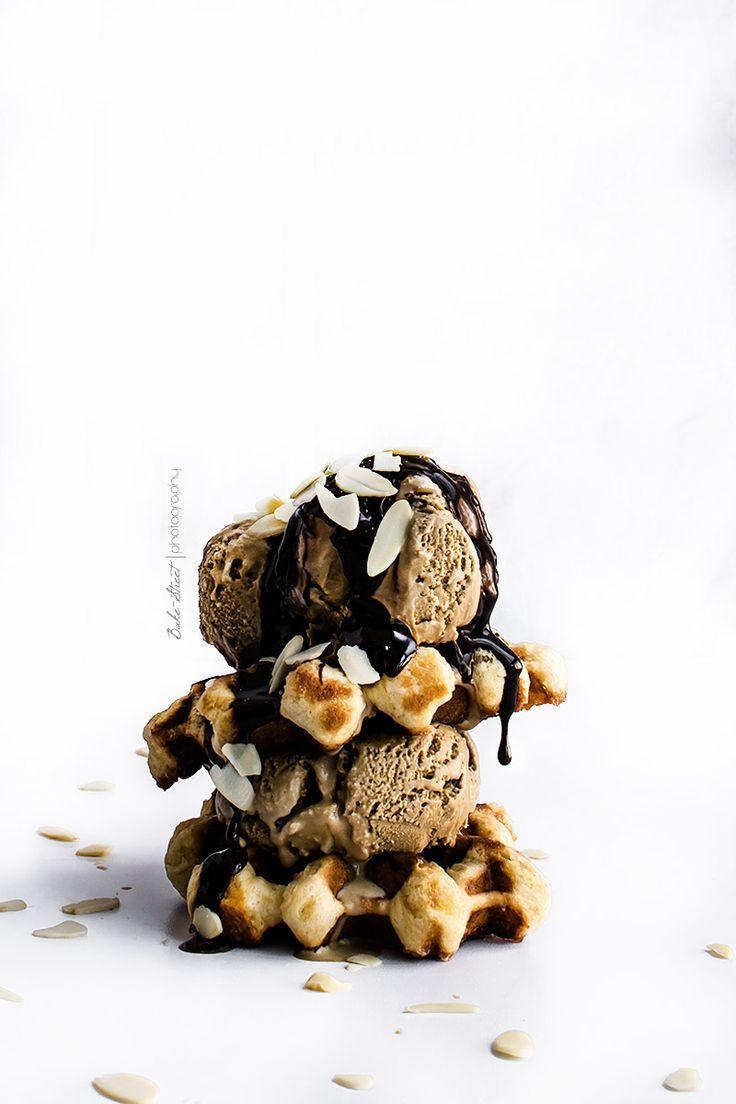 coffee cardamom ice cream with belgian waffles
