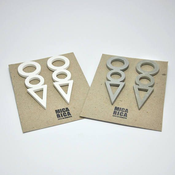 Slopes of concrete long white and grey long cement earrings
