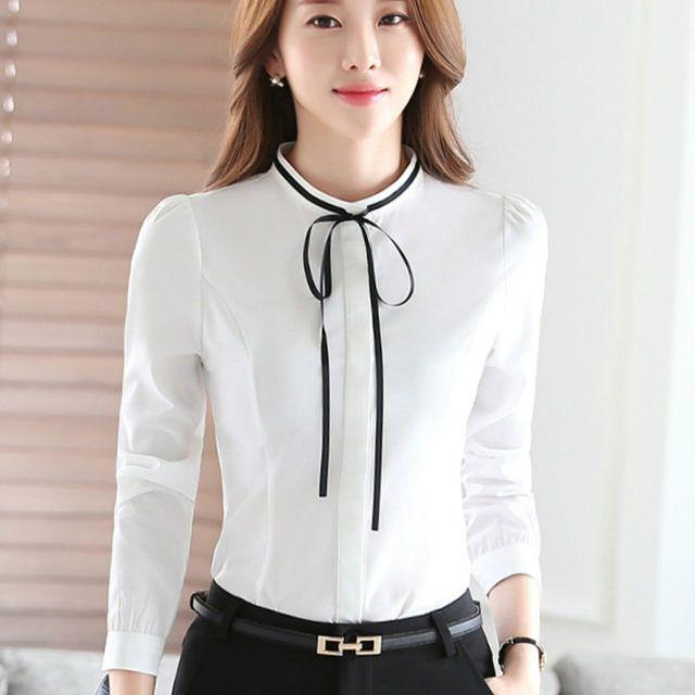 e444b9b94f5e 2016 otoño manga larga blanco camisas mujeres bow tie blusas señora ...