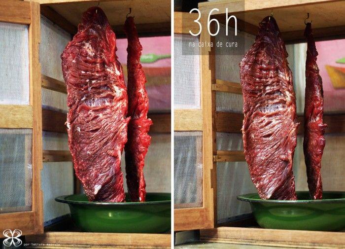 Cura da carne de sol na caixa de cura