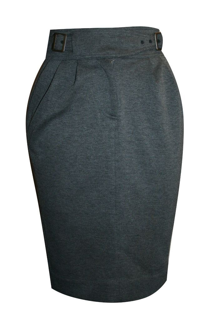 Anthropologie Maeve Skirt 0 Gray Solid High Waist Pencil Polyester Knee-Length #Maeve #StraightPencil