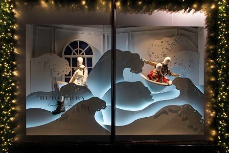 "The ""waves window"" from the Harrods and Burberry Very British Fairy Tales display at Harrods for Christmas."