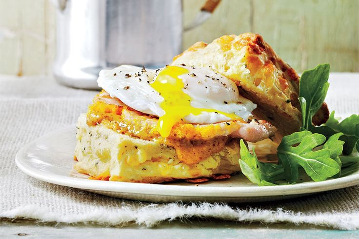 Recipe: Smoked cheese and sage biscuit with peameal bacon and poached eggs