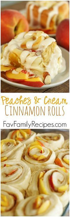 Peaches and Cream Cinnamon Rolls- Oh my gosh, these were incredible. Ooey Gooey Cinnamon Rolls combined with fresh peaches and homemade almond cream cheese frosting... perfection on a plate. Find all our yummy pins at https://www.pinterest.com/favfamilyrecipz/