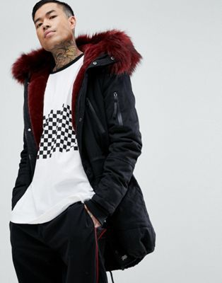 Sixth June Parka Jacket In Black With Extreme Faux Fur Hood