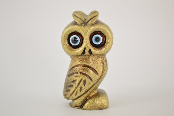 Owl statue / 3.3 inches / Polyester / Bronze by CraftsAndMetal
