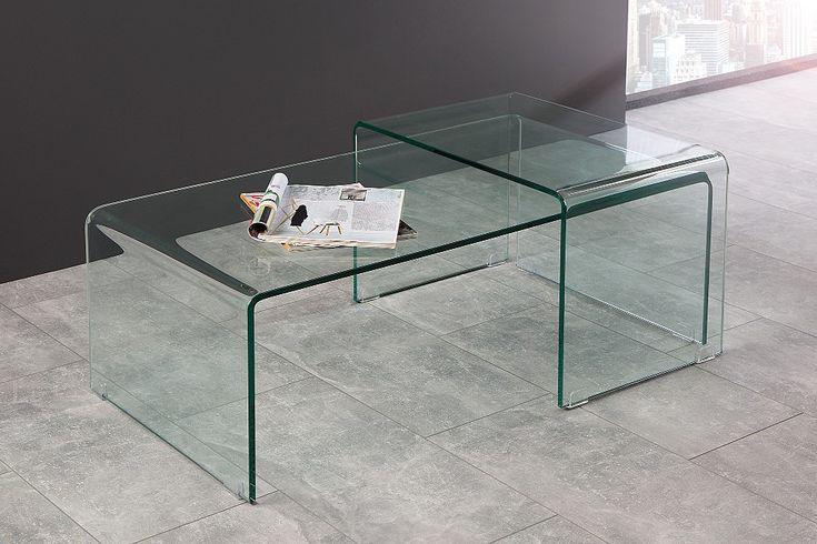 OPAQUE - set med två flexibla, extravaganta och moderna glasbord