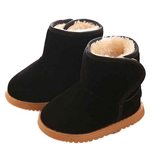Voberry Baby Toddler Kids Children Girls Boys Winter Warm Boot Fur Lined Outdoor Snow Boots 12Age Black *** You can get additional details at the image link.