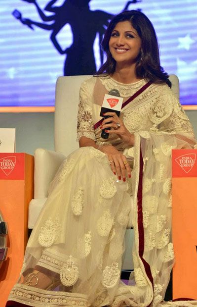 USD 64.6 Shilpa Shetty White Sheer Wedding Saree