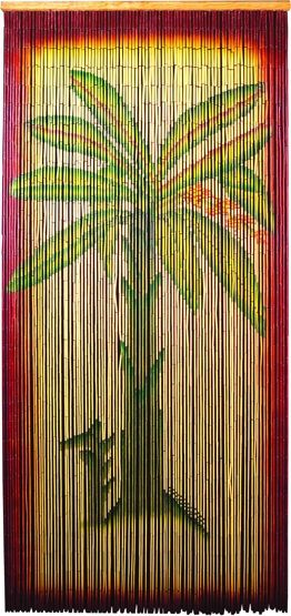 Bamboo Beaded Curtain With Palm Tree