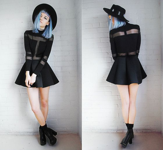 Get this look: http://lb.nu/look/7257502  More looks by Gigi M.: http://lb.nu/daeva101  Items in this look:  Style Moi Mesh Panel Bodysuit, Choies Black Skirt   #chic #gothic