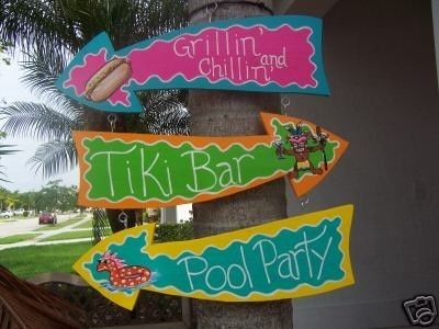 Tropical Grillin Chillin Tiki Bar Pool Party Arrows Wood Sign. $36.95, via Etsy. Absolutely love this artist's work!