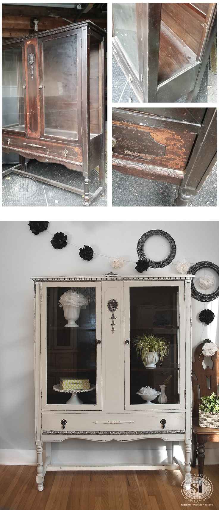 Here's a great before & after!!! I was over the moon happy when I found this vintage china cabinet with the glass on all four sides! It need some TLC but the final results was well worth it! #GeneralFinishes #ChalkStylePaint #Review