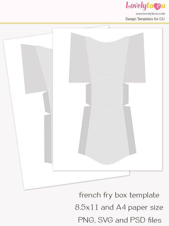 mini french fry box template candy box printable sheet blank