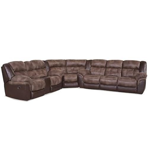 From Royalfurniture.com · 139 Casual Sectional By HomeStretch With Four  Recliners And Easy To Clean Microsuede Seats And Backs