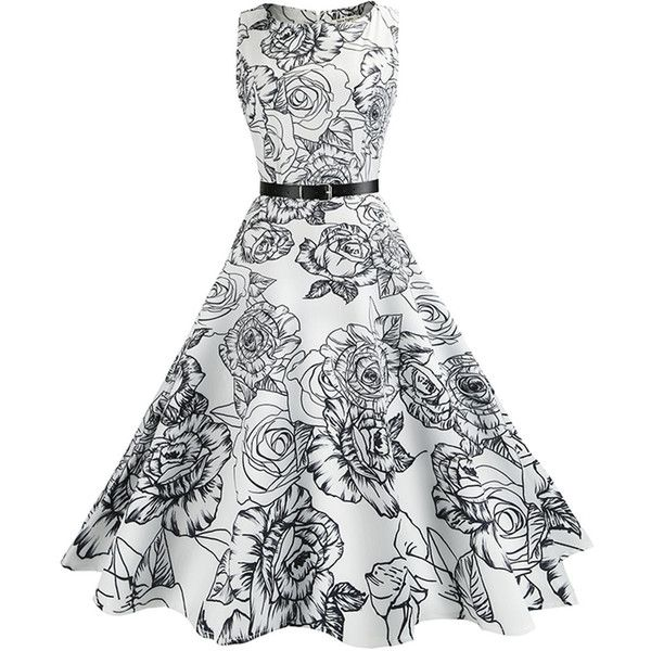 Courtly Round Neck Belt Floral Printed Midi Skater Dress (41 AUD) ❤ liked on Polyvore featuring dresses, flare dresses, floral skater dress, midi skater dress, white day dress and floral print dress