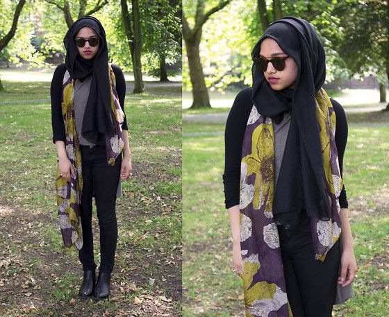 Saima Chowdhury - Al Madina Hijabs Black Scarf, Love Plum Floral Scarf, Primark Black Long Sleeve Top, Primark Hi Low Top, H&M Black Skinny Jeans, Deichmann Boots, Primark Tortoise Sunglasses - Plum