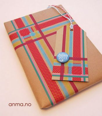 Gift decorated with Washi tape stripes from anma.no
