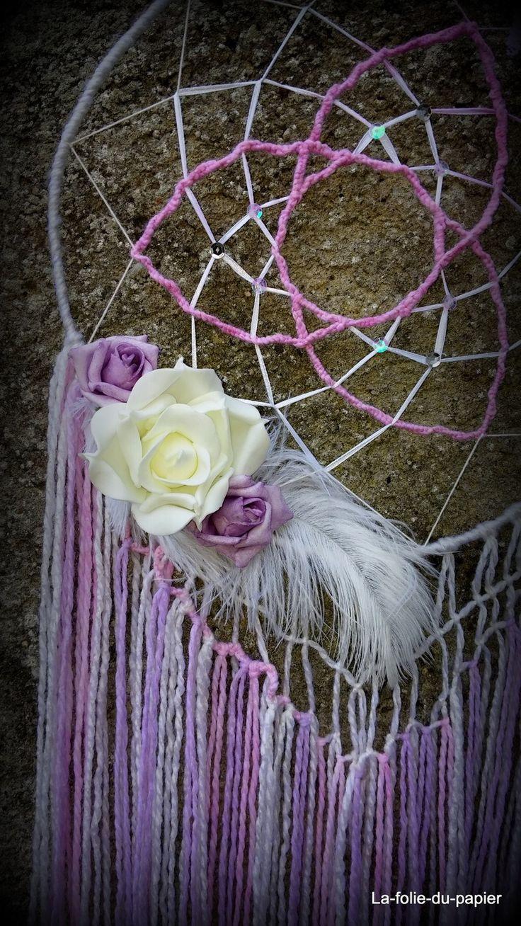 Decoration Attrape Reves Dreamcatcher Plumes Roses Macrame Deco Pinterest Macram
