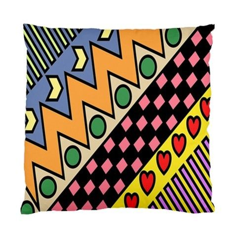 Funky Retro Multicoloured Art With Hearts, Zigzags & Circles Art Cushion Cover - by blingjewellery on madeit