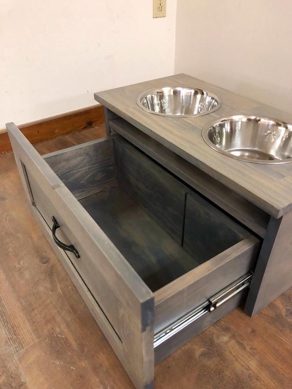 Shaker Style Raised Dog Feeder With Storage Drawer Dog Bowl