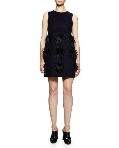 Faux-Fur Pompom Tunic/Dress, Navy