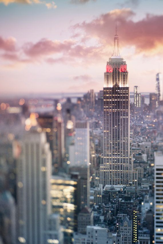 New York City Photography - Manhattan Skyline at Dusk, Empire State Building, Urban Home Decor, Wall Decor