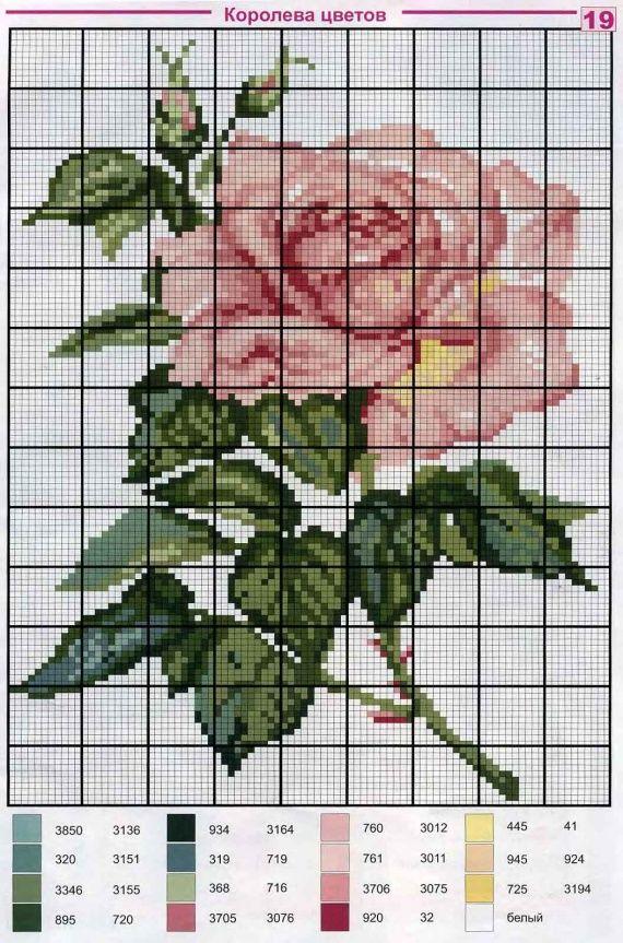 Розы / Вышивка / Схемы вышивки крестом, вышивка крестиком