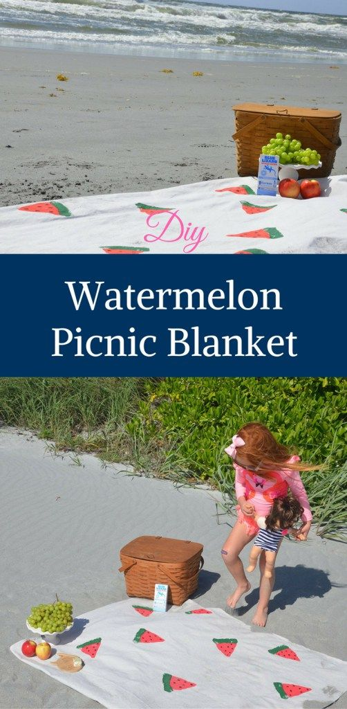 Welcome summer! Get ready for summer picnics with this DIY Watermelon Picnic Blanket. You can pick the size. It is a quick, easy and fun DIY. In partnership with @Blue Lizard Australian Sunscreen #ad #collectivebias #BlueLizardSummer
