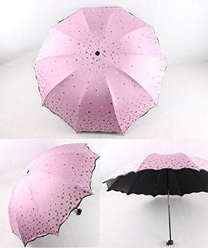 Ombrelli Piegati 10 Alette Grande Tettoia UV Ombrelloni Un Piccolo Ombrello Dorato,E