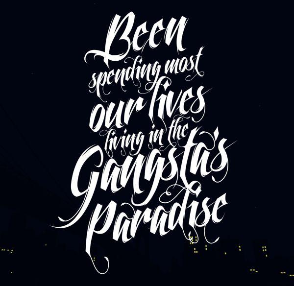 Sharp pinstripes.    Gangsta's Paradise Wallpaper by Gustavo Cramez, via Behance