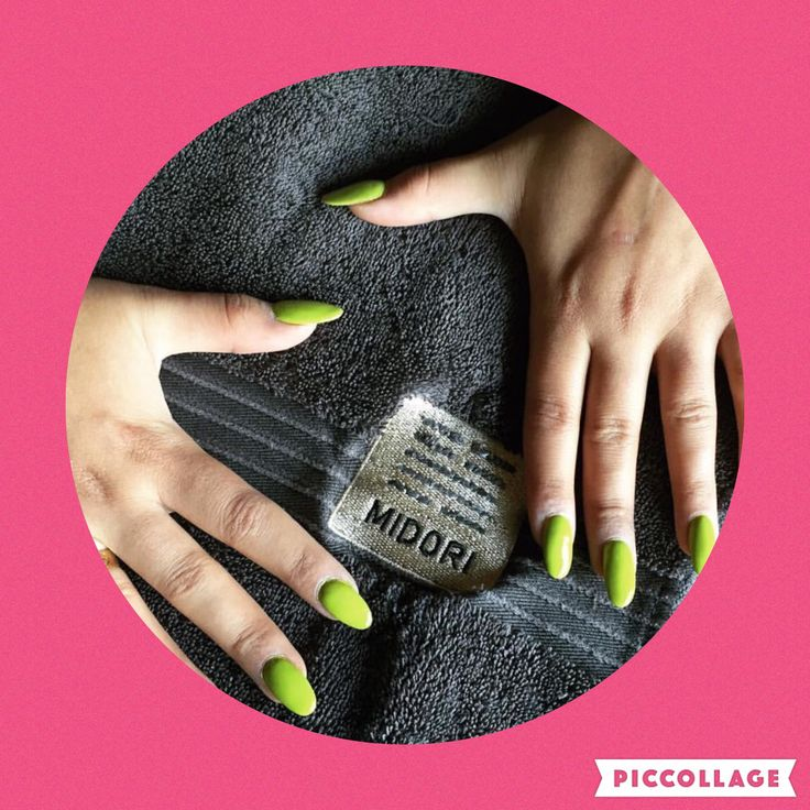 Bright lime green nails by Nthabi at Midori
