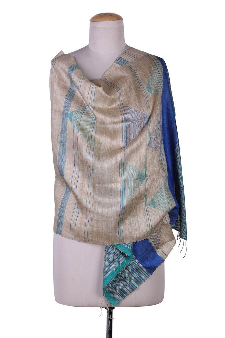 NOVICA Multicolor Jamdani 100% Silk Shawl, 'Teal Sophistication'