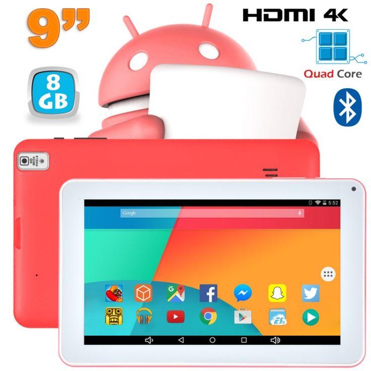 Tablette 9 pouces fonctionnant sous Android 6.0 Marshmallow et disposant d'un port Mini HDMI 4K. Elle est notamment équipée d'un processeur Quad Core cadencé à 1.5 GHz, d'une mémoire vive de 1Go, d'une connexion Bluetooth et d'un écran tactile capacitif. Mémoire interne 8 Go. Couleur : Rose