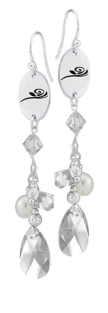 Alpha Gamma Delta Symbol Clear Crystal and Freshwater Pearl Earrings